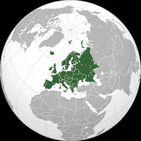 Globe map of Europe